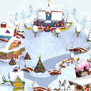 3ds christmas village -