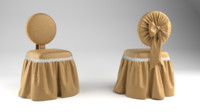 3d model vanity princess bow chair