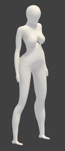 exaggerated basic female body 3d 3ds