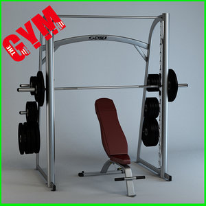 3d model of smith machine bench
