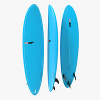 3d model surfboard funboard
