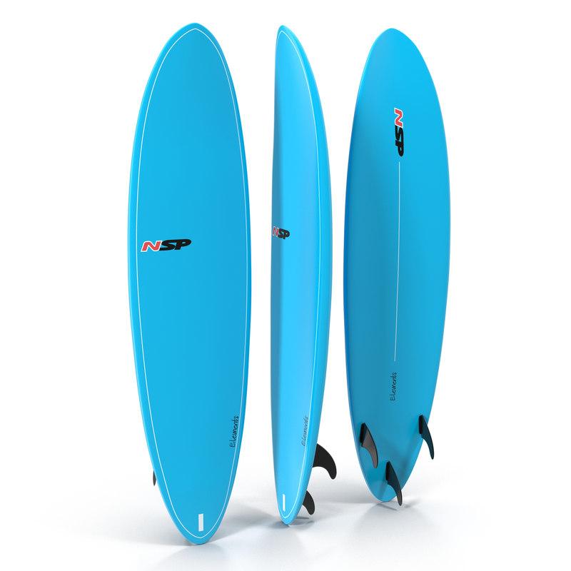 3d model surfboard funboard