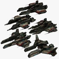3d model 5 small frigates