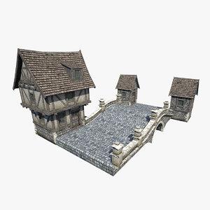 3d fantasy medieval stone bridge