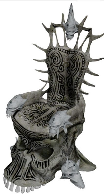 3d model skull throne fantasy