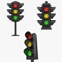 3d traffic light set model