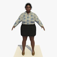 3d realistically african woman clothed model