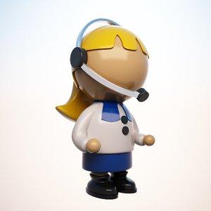 3d cartoon operator character model
