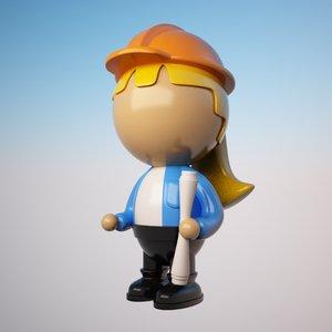 engineer character cartoon 3d max