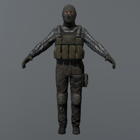 3d ready terrorist rigged model