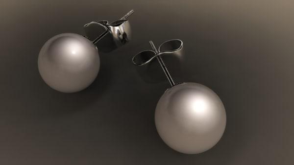 3d pearl stud earring
