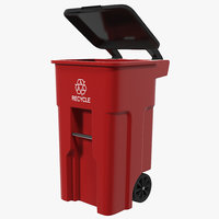 Rollout Recycling Container Red 3D Model