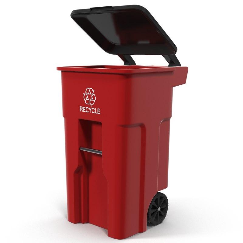 recyling bin red c4d