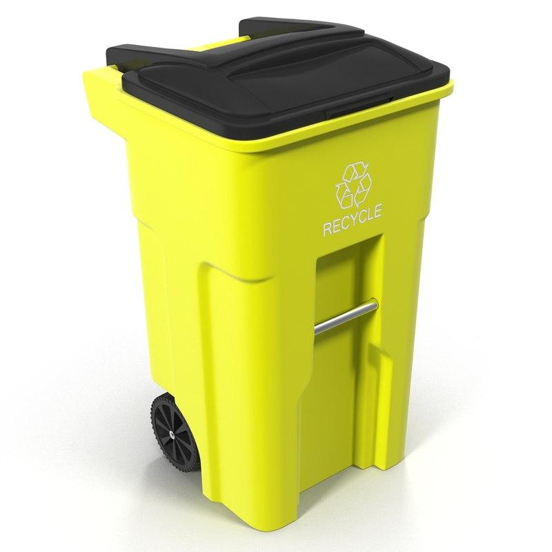 3d model recyling bin yellow
