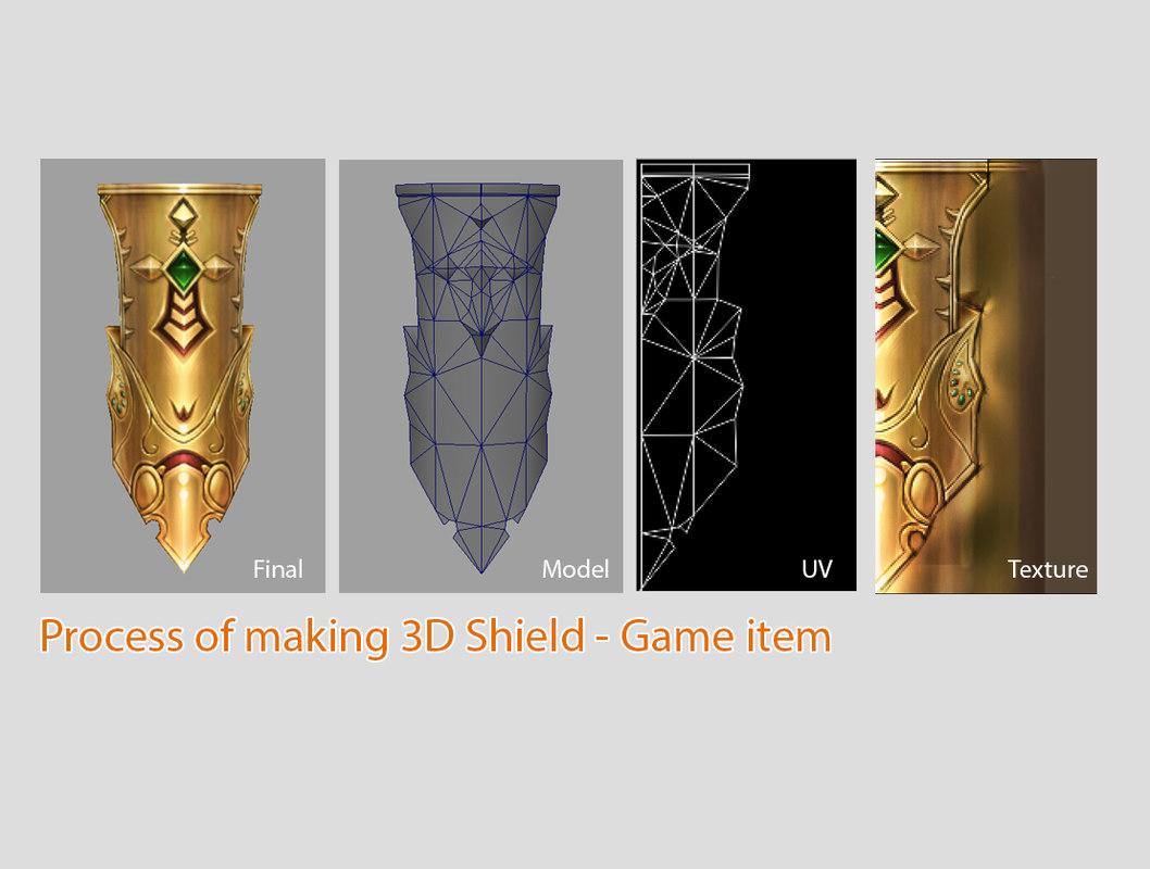 3d shield pen item