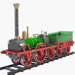 1835 adler steam locomotive 3d model