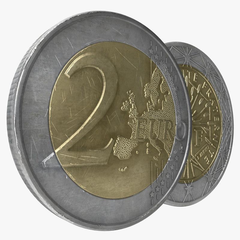 3d model 2 euro coins
