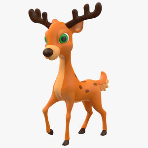cartoon deer rigged 3d max