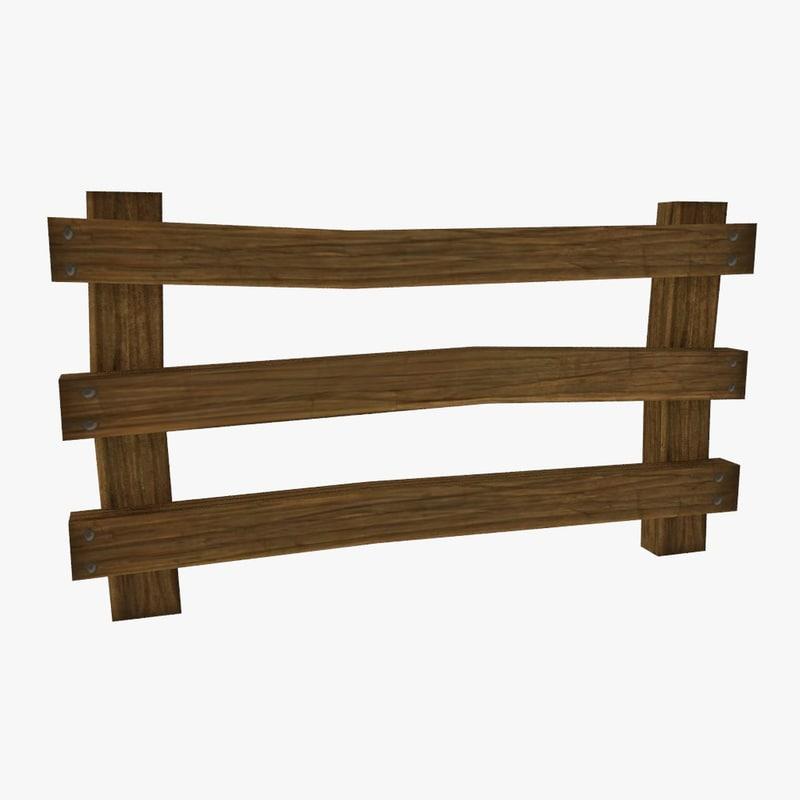 cartoon wooden fence set 3d model