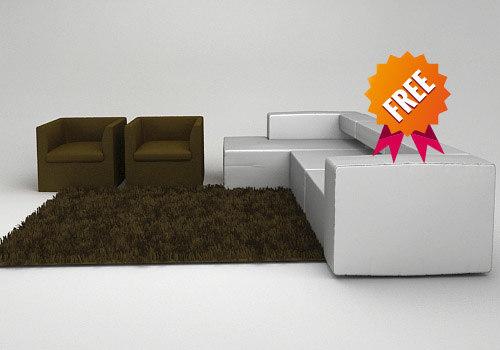 free living room 3d model