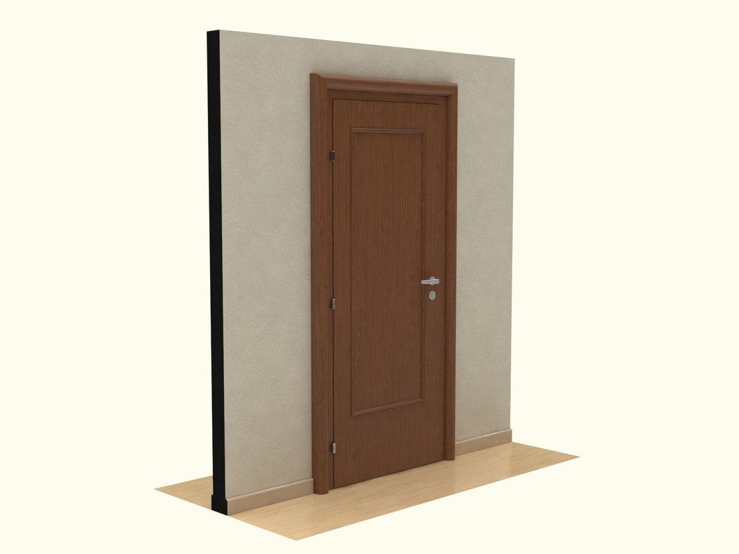 wooden door 3d 3dm