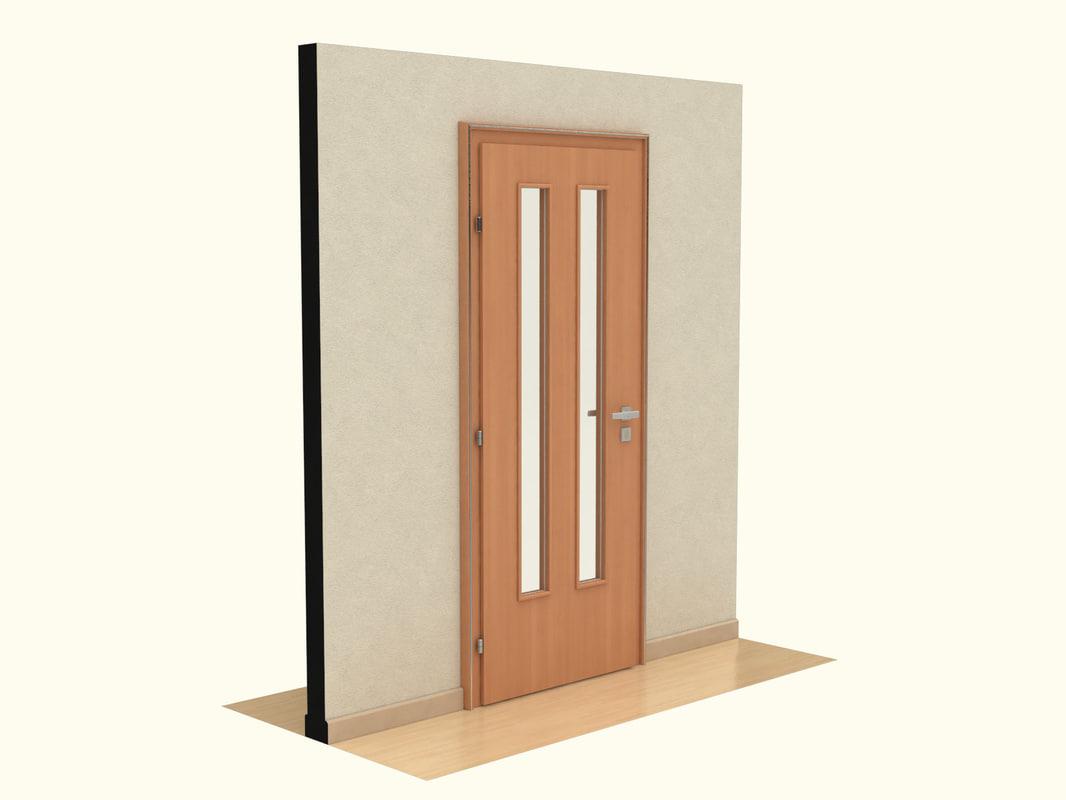 wooden door 3d lwo