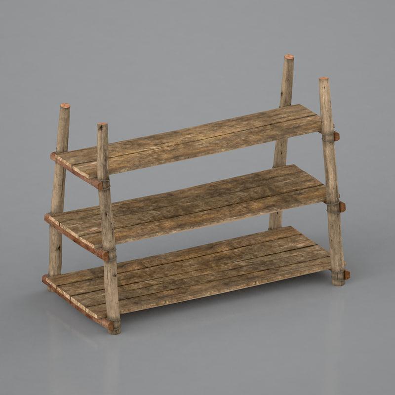 antique primitive shelves 3d 3ds
