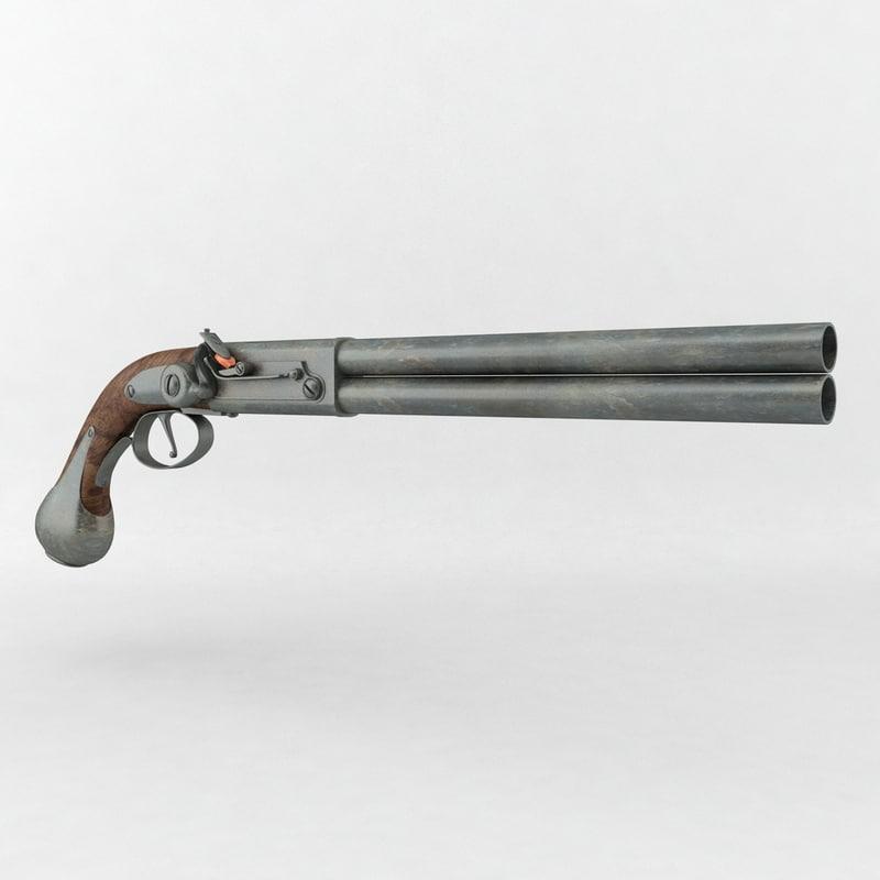 handgun gun old metal 3d 3ds