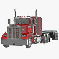 Truck Kenworth W900 and Flatbed Trailer 3D Model
