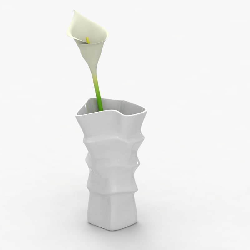 3d modern vase flower model