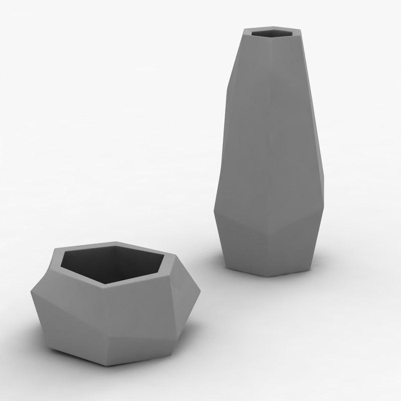 obj modern vases