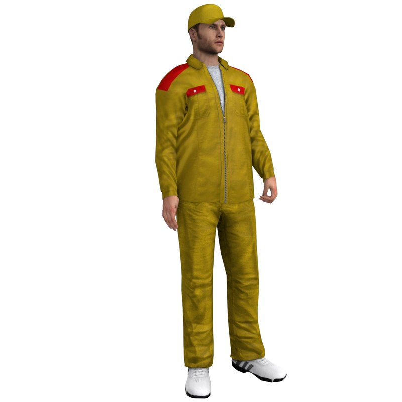 3d rigged gas station worker