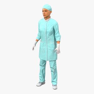 3d female surgeon mediterranean blood model