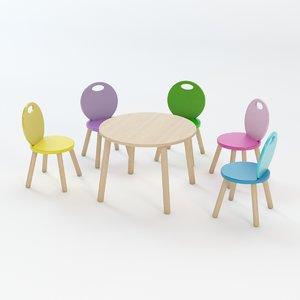 kids chair table 3d model