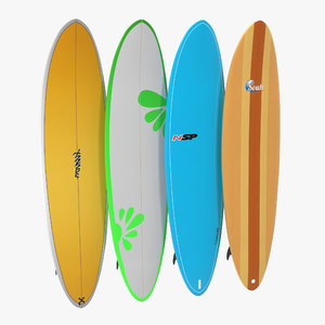 surfboard funboard set 3d model