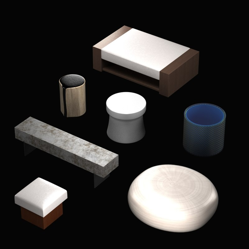 3d pouf table collections model