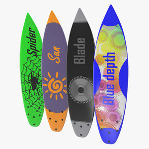 3d surfboard shortboard set model