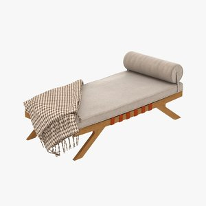 3d model century chaise lounge