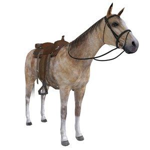 wild west horse saddle 3d model