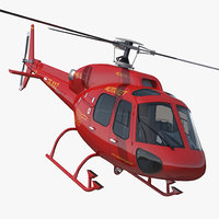 Helicopter Service Eurocopter AS-355 Rigged 3D Model