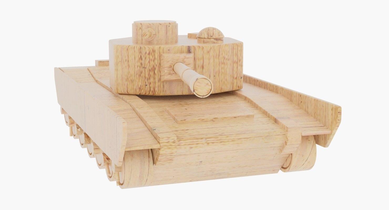 wooden toy tank wood 3d model