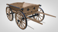 c4d wooden cart