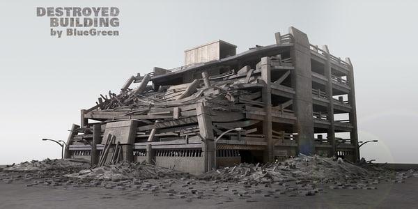 destroyed building c4d
