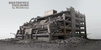 destroyed building c4d