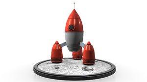 rocket ship 3d c4d