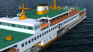 realistic ferry istanbul 3d model