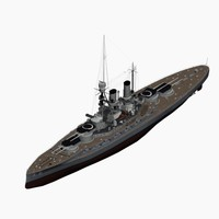 dreadnought battleship bayern class 3d model