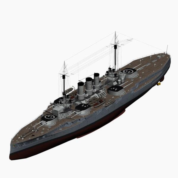 3d model dreadnought battleship helgoland class