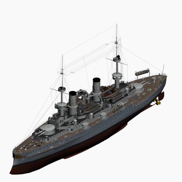 battleship friedrich iii class 3d model