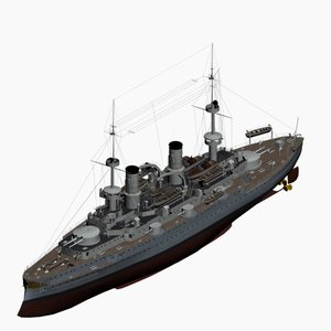 battleship friedrich iii class 3d model